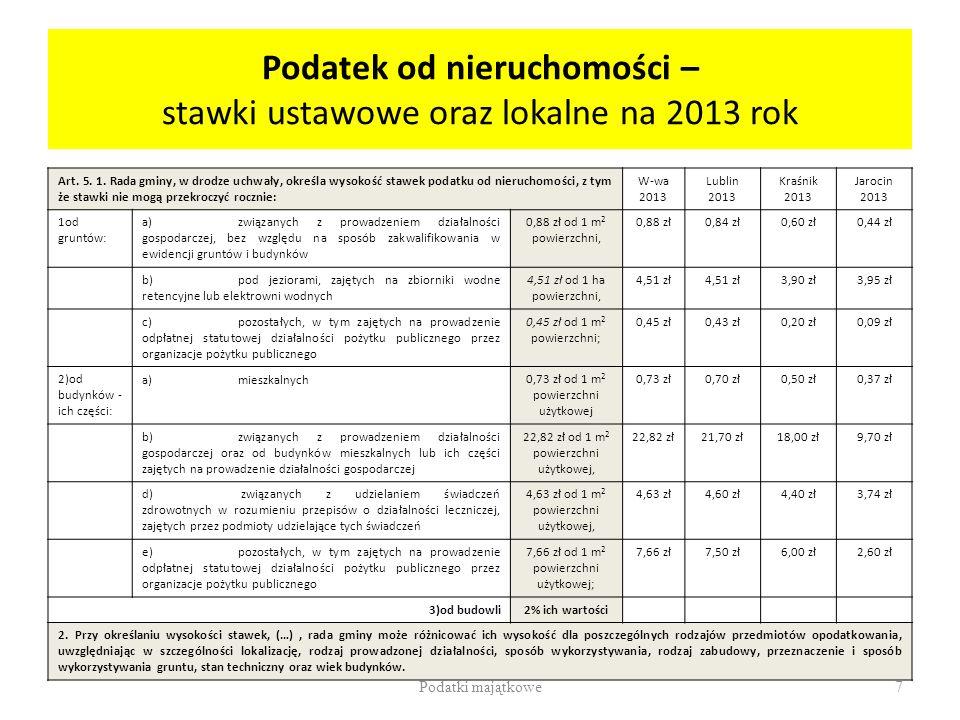 Podatek od nieruchomości – stawki ustawowe oraz lokalne na 2013 rok Art. 5. 1. Rada gminy, w drodze uchwały, określa wysokość stawek podatku od nieruc