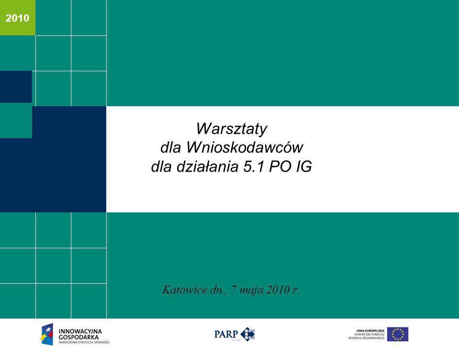 2010 Warsztaty dla Wnioskodawców dla działania 5.1 PO IG Katowice dn., 7 maja 2010 r.