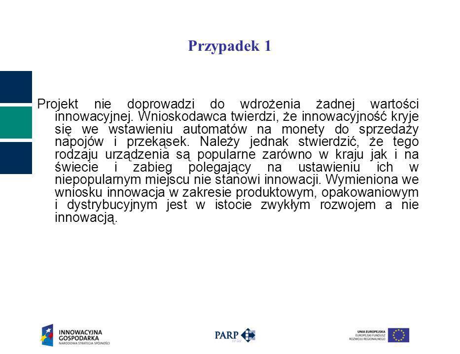 Przypadek 1 Projekt nie doprowadzi do wdrożenia żadnej wartości innowacyjnej.