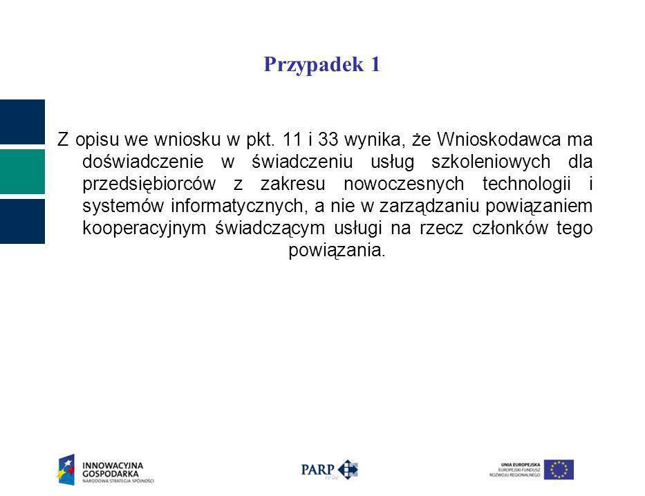 Przypadek 1 Z opisu we wniosku w pkt. 11 i 33 wynika, że Wnioskodawca ma doświadczenie w świadczeniu usług szkoleniowych dla przedsiębiorców z zakresu