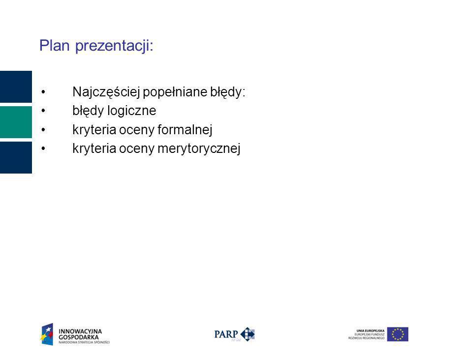 Plan prezentacji: Najczęściej popełniane błędy: błędy logiczne kryteria oceny formalnej kryteria oceny merytorycznej