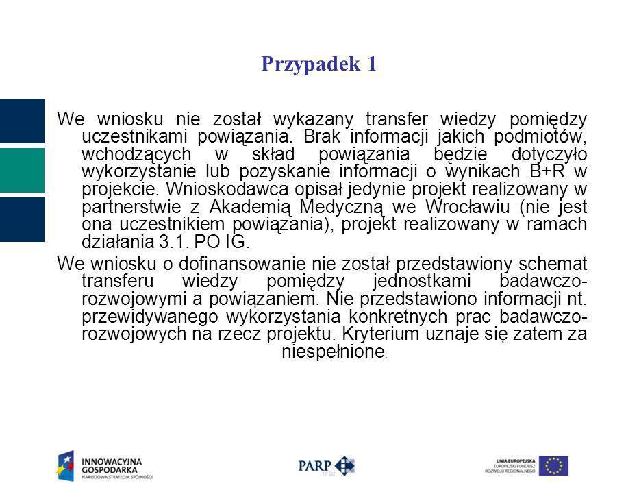 Przypadek 1 We wniosku nie został wykazany transfer wiedzy pomiędzy uczestnikami powiązania. Brak informacji jakich podmiotów, wchodzących w skład pow