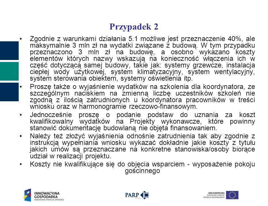 Przypadek 2 Zgodnie z warunkami działania 5.1 możliwe jest przeznaczenie 40%, ale maksymalnie 3 mln zł na wydatki związane z budową.