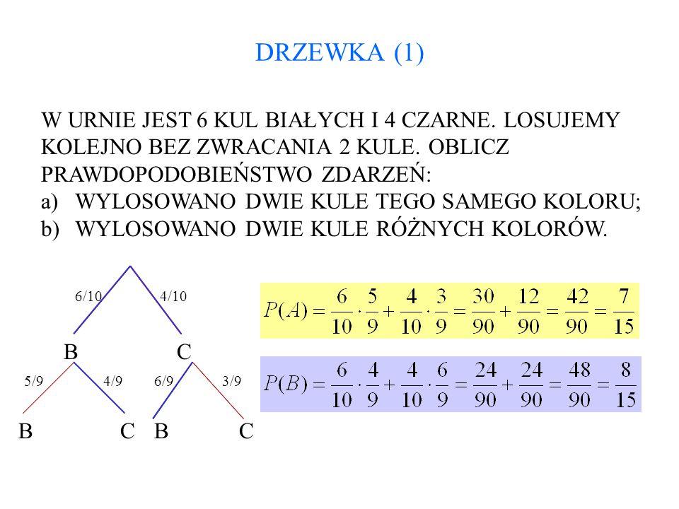 DRZEWKA (1) W URNIE JEST 6 KUL BIAŁYCH I 4 CZARNE. LOSUJEMY KOLEJNO BEZ ZWRACANIA 2 KULE. OBLICZ PRAWDOPODOBIEŃSTWO ZDARZEŃ: a)WYLOSOWANO DWIE KULE TE