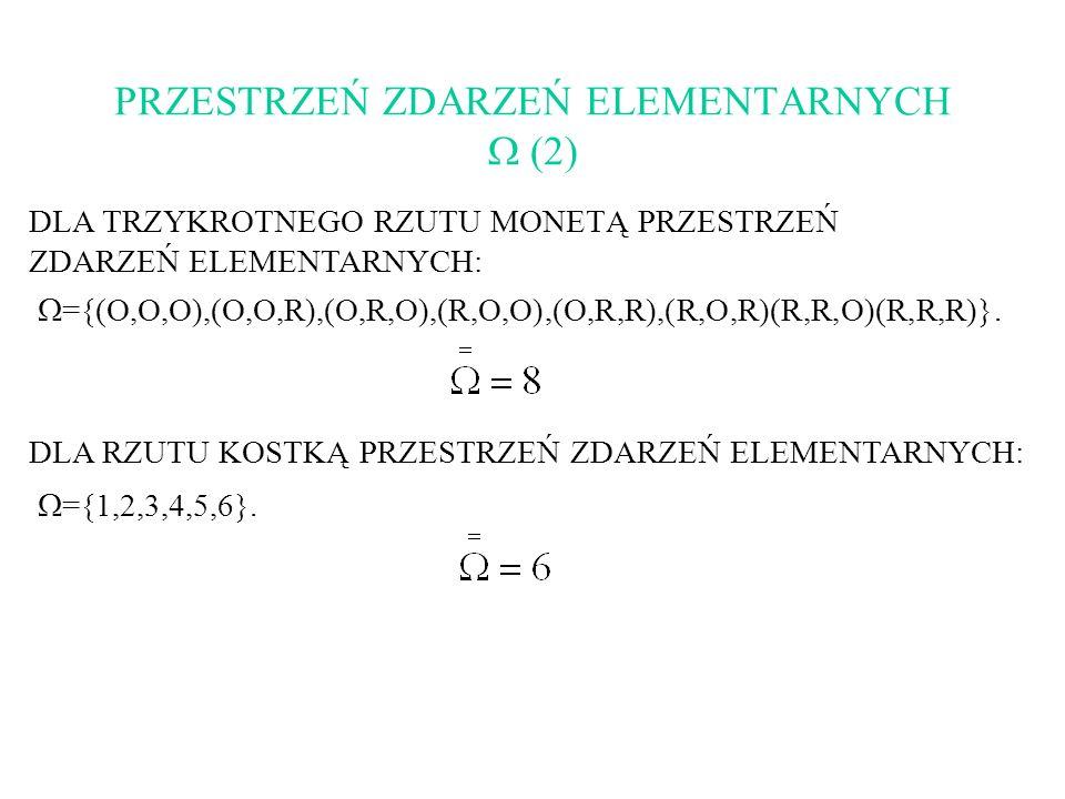 PRZESTRZEŃ ZDARZEŃ ELEMENTARNYCH (3) DLA DWUKROTNEGO RZUTU KOSTKĄ PRZESTRZEŃ ZDARZEŃ ELEMENTARNYCH ={(1,1),(1,2),(1,3),(1,4),(1,5),(1,6) (2,1),(2,2),(2,3),(2,4),(2,5),(2,6) (3,1),(3,2),(3,3),(3,4),(3,5),(3,6) (4,1),(4,2),(4,3),(4,4),(4,5),(4,6) (5,1),(5,2),(5,3),(5,4),(5,5),(5,6) (6,1),(6,2),(6,3),(6,4),(6,5),(6,6)}