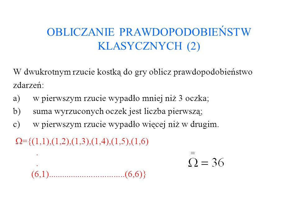 OBLICZANIE PRAWDOPODOBIEŃSTW KLASYCZNYCH (3) Ad.a).