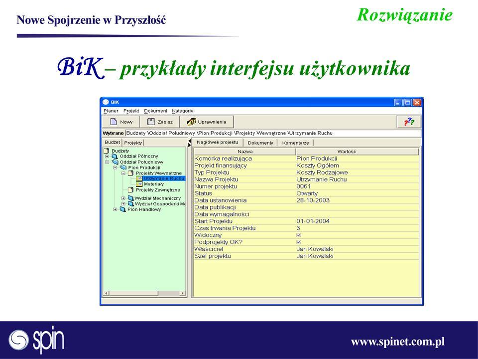BiK – przykłady interfejsu użytkownika Rozwiązanie