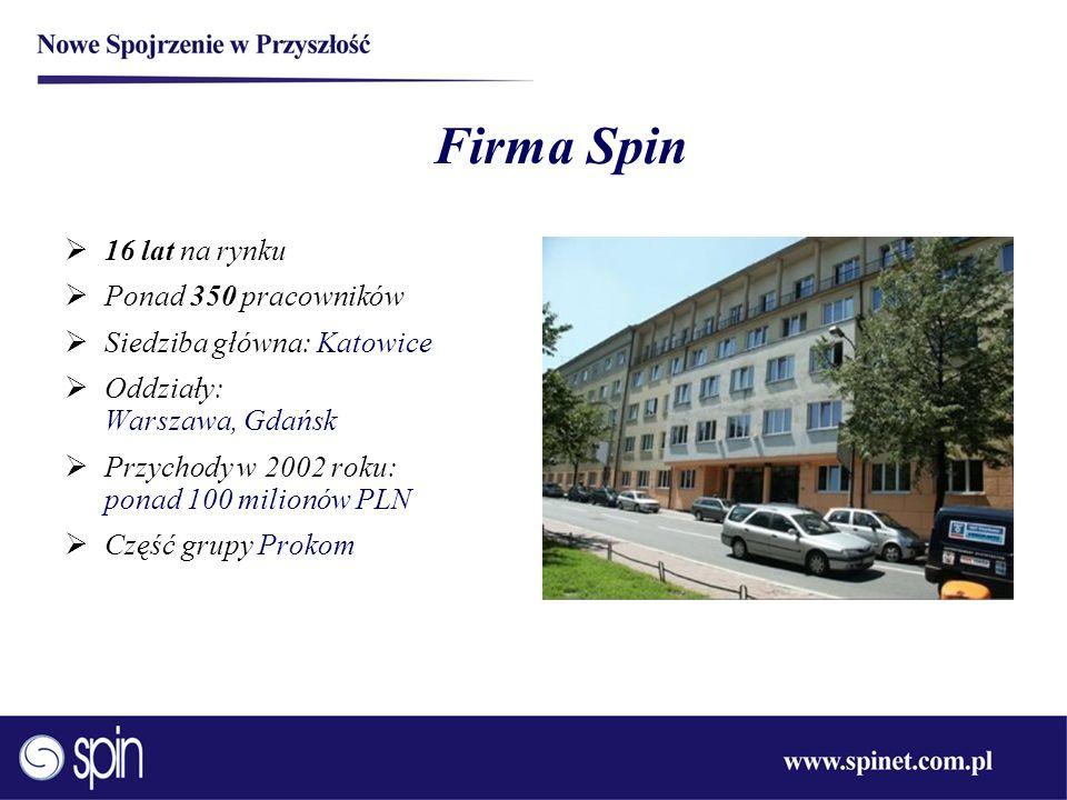 Firma Spin 16 lat na rynku Ponad 350 pracowników Siedziba główna: Katowice Oddziały: Warszawa, Gdańsk Przychody w 2002 roku: ponad 100 milionów PLN Cz