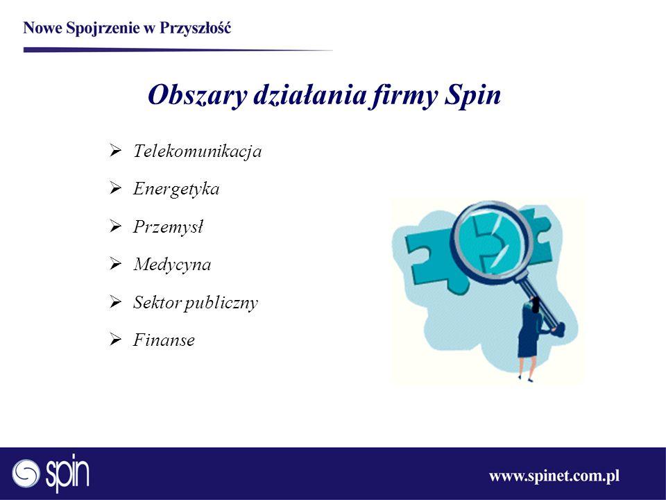 Obszary działania firmy Spin Telekomunikacja Energetyka Przemysł Medycyna Sektor publiczny Finanse