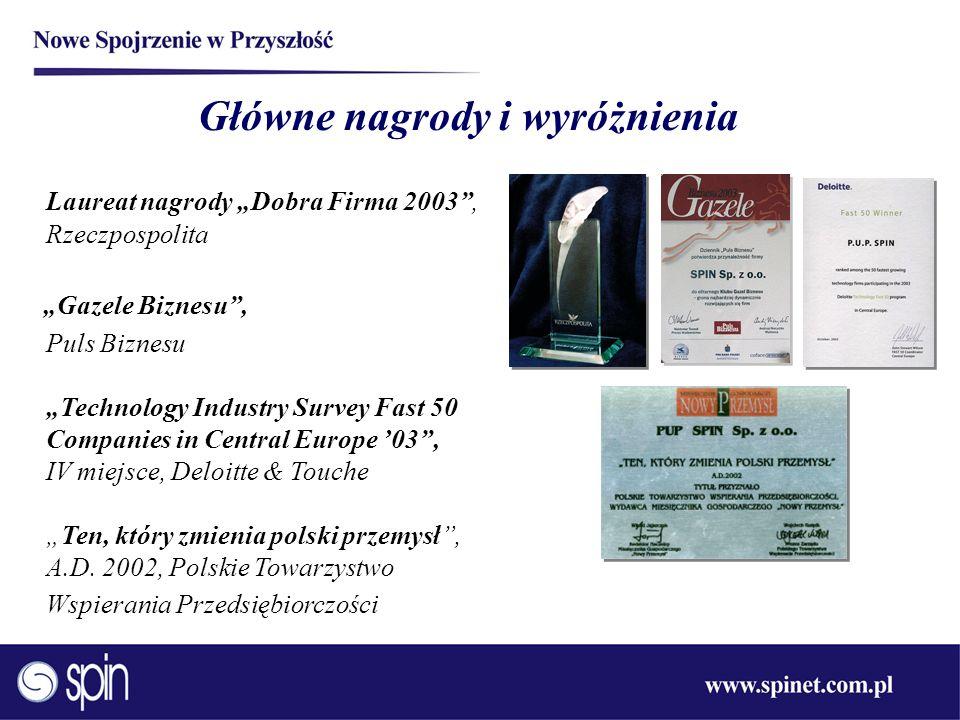 Główne nagrody i wyróżnienia Laureat nagrody Dobra Firma 2003, Rzeczpospolita Gazele Biznesu, Puls Biznesu Technology Industry Survey Fast 50 Companie
