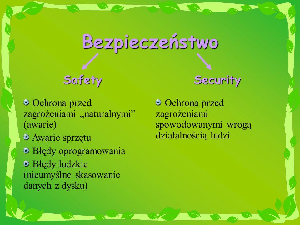 Bezpieczeństwo SafetySecurity Ochrona przed zagrożeniami naturalnymi (awarie) Awarie sprzętu Błędy oprogramowania Błędy ludzkie (nieumyślne skasowanie