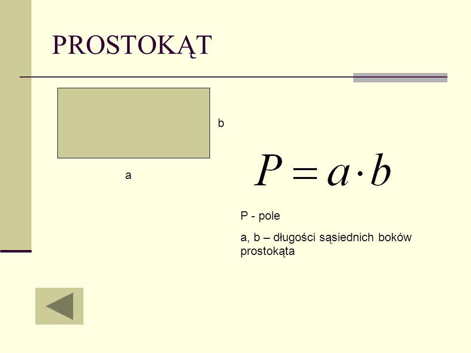 PROSTOKĄT a b P - pole a, b – długości sąsiednich boków prostokąta