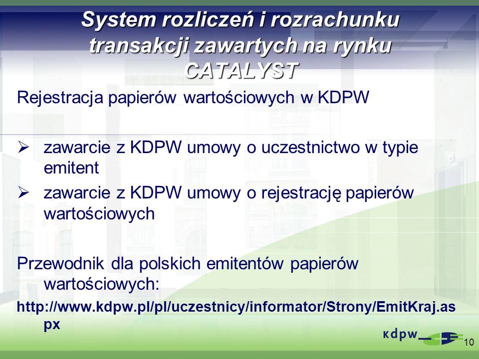 System rozliczeń i rozrachunku transakcji zawartych na rynku CATALYST Rejestracja papierów wartościowych w KDPW zawarcie z KDPW umowy o uczestnictwo w