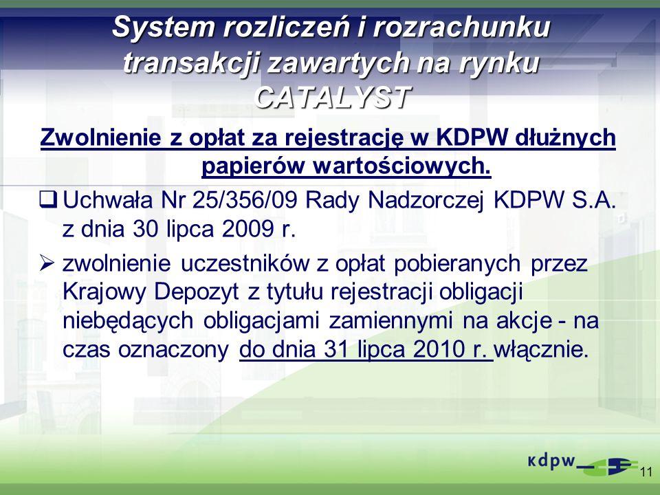 System rozliczeń i rozrachunku transakcji zawartych na rynku CATALYST Zwolnienie z opłat za rejestrację w KDPW dłużnych papierów wartościowych. Uchwał