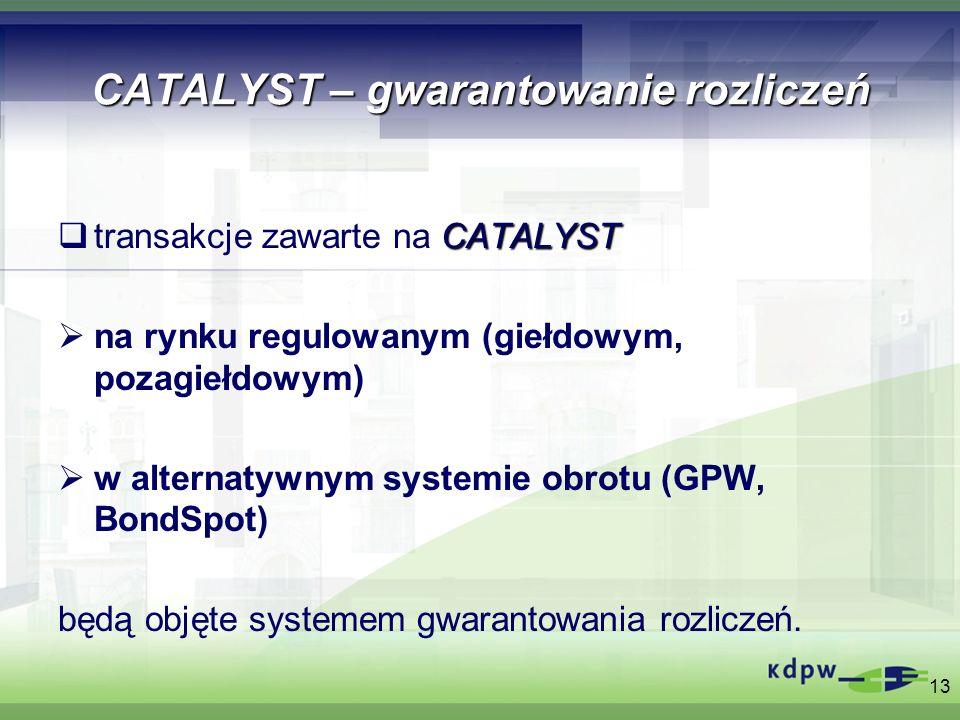 13 CATALYST – gwarantowanie rozliczeń CATALYST transakcje zawarte na CATALYST na rynku regulowanym (giełdowym, pozagiełdowym) w alternatywnym systemie