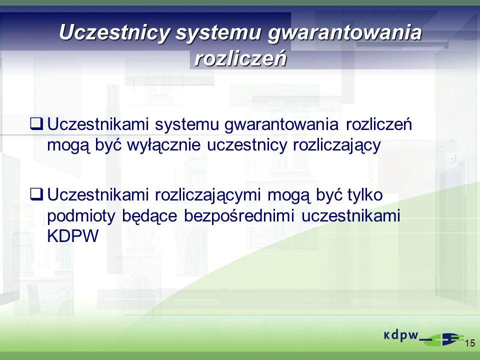 Uczestnicy systemu gwarantowania rozliczeń Uczestnikami systemu gwarantowania rozliczeń mogą być wyłącznie uczestnicy rozliczający Uczestnikami rozlic
