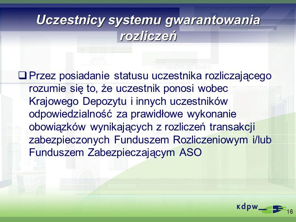 Uczestnicy systemu gwarantowania rozliczeń Przez posiadanie statusu uczestnika rozliczającego rozumie się to, że uczestnik ponosi wobec Krajowego Depo