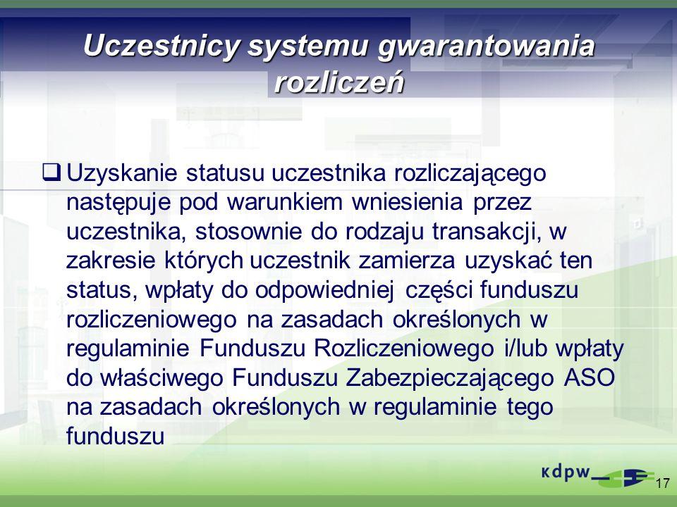 Uczestnicy systemu gwarantowania rozliczeń Uzyskanie statusu uczestnika rozliczającego następuje pod warunkiem wniesienia przez uczestnika, stosownie