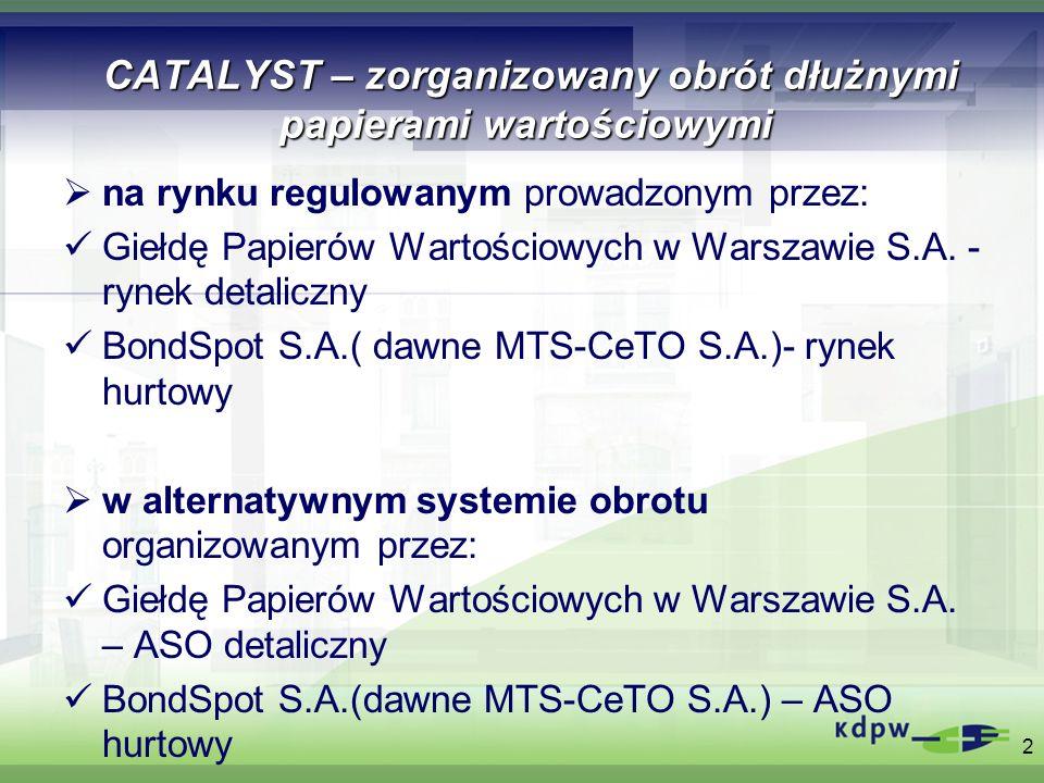 System rozliczeń i rozrachunku transakcji zawartych na rynku CATALYST Standaryzacja rozliczeń i rozrachunków w KDPW Dowody ewidencyjne przekazywane do KDPW przez GPW i BondSpot w dniu zawarcia transakcji (dla transakcji z cyklem rozliczeniowym T+0 do 15.30 w tym dniu) Cykl rozliczeniowy (GPW i BondSpot): dla transakcji gwarantowanych zawartych w obrocie zorganizowanym (rynek regulowany i ASO) – T+2 dla transakcji pakietowych i transakcji BISO – określony przez strony transakcji – T 0 3