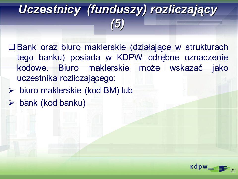 Uczestnicy (funduszy) rozliczający (5) Bank oraz biuro maklerskie (działające w strukturach tego banku) posiada w KDPW odrębne oznaczenie kodowe. Biur