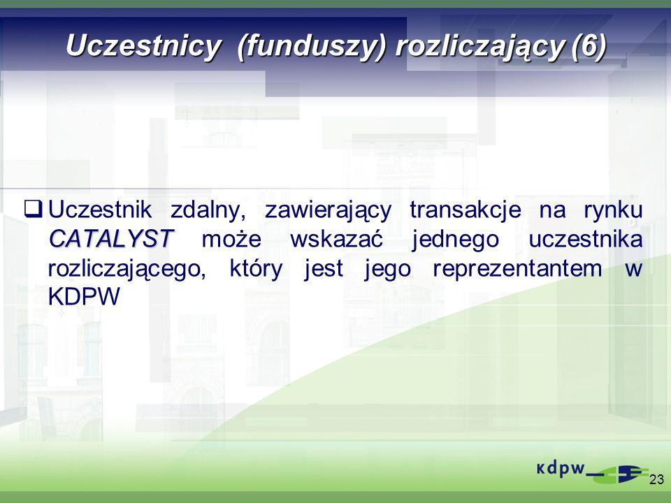 Uczestnicy (funduszy) rozliczający (6) CATALYST Uczestnik zdalny, zawierający transakcje na rynku CATALYST może wskazać jednego uczestnika rozliczając