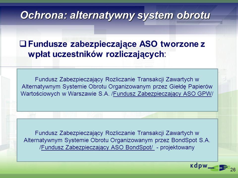Ochrona: alternatywny system obrotu Fundusze zabezpieczające ASO tworzone z wpłat uczestników rozliczających: 26 Fundusz Zabezpieczający Rozliczanie T