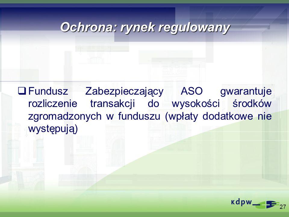 Ochrona: rynek regulowany Fundusz Zabezpieczający ASO gwarantuje rozliczenie transakcji do wysokości środków zgromadzonych w funduszu (wpłaty dodatkow