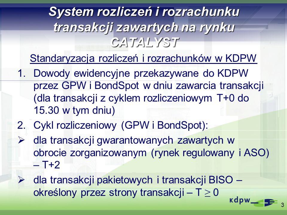 System rozliczeń i rozrachunku transakcji zawartych na rynku CATALYST Standaryzacja rozliczeń i rozrachunków w KDPW Dowody ewidencyjne przekazywane do