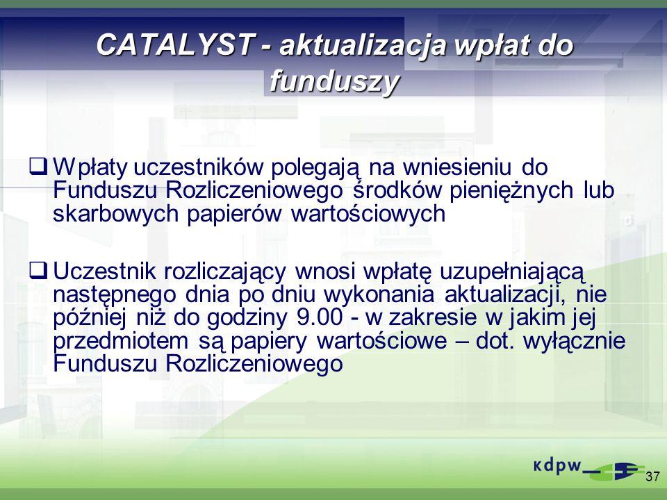 37 CATALYST - aktualizacja wpłat do funduszy Wpłaty uczestników polegają na wniesieniu do Funduszu Rozliczeniowego środków pieniężnych lub skarbowych