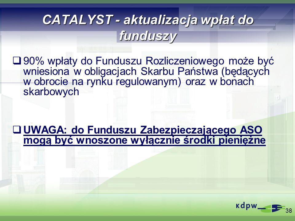 38 CATALYST - aktualizacja wpłat do funduszy 90% wpłaty do Funduszu Rozliczeniowego może być wniesiona w obligacjach Skarbu Państwa (będących w obroci