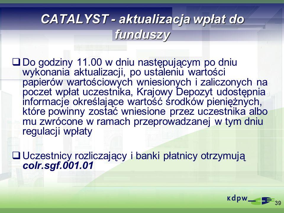 39 CATALYST - aktualizacja wpłat do funduszy Do godziny 11.00 w dniu następującym po dniu wykonania aktualizacji, po ustaleniu wartości papierów warto