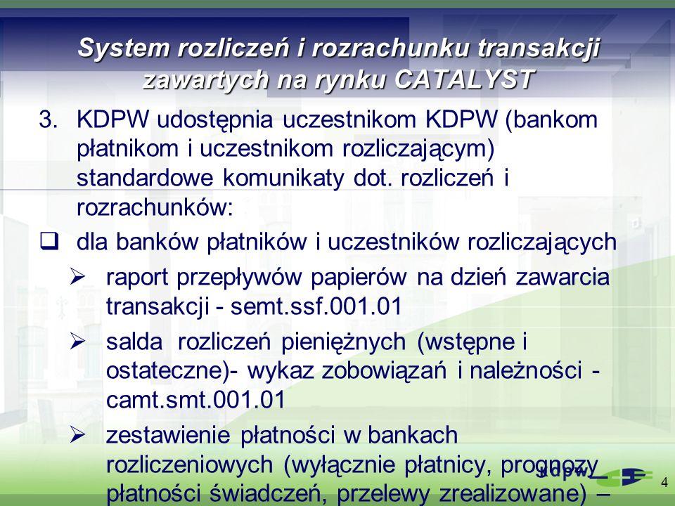 System rozliczeń i rozrachunku transakcji zawartych na rynku CATALYST dla uczestników rozliczających status instrukcji rozliczeniowej (do transakcji zawartych w obrocie zorganizowanym wyłącznie status SUSP, pozostałe - na życzenie – stała deklaracja lub zapytanie)- sese.sts.001.01 status instrukcji rozliczeniowej – status PEND, dotyczy zdalnych członków GPW i BondSpot, przekazywany z GPW za pośrednictwem systemu KDPW uczestnikom rozliczającym w czasie rzeczywistym – sese.sts.002.01 wyciąg z konta rozliczeniowego (cząstkowy, dzienny, po ewidencji w RTGS) – semt.smt.001.01 5