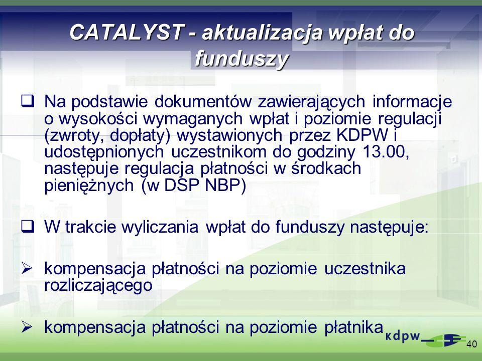 40 CATALYST - aktualizacja wpłat do funduszy Na podstawie dokumentów zawierających informacje o wysokości wymaganych wpłat i poziomie regulacji (zwrot