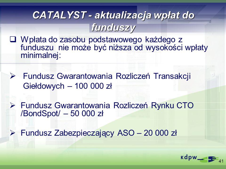 41 CATALYST - aktualizacja wpłat do funduszy Wpłata do zasobu podstawowego każdego z funduszu nie może być niższa od wysokości wpłaty minimalnej: Fund