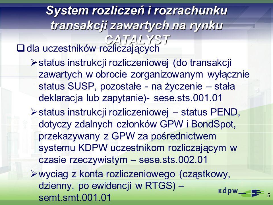 System rozliczeń i rozrachunku transakcji zawartych na rynku CATALYST 4.Parametry operacji 6 Rodzaj operacji zawieranych na rynku CATALYST Typ operacjiKod rynkuTryb obrotuNumer sesjiCykl rozl.