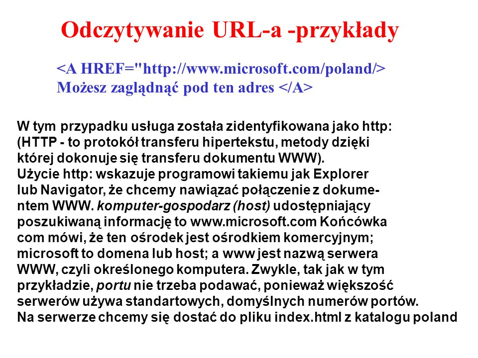 Odczytywanie URL-a -przykłady Możesz zaglądnąć pod ten adres W tym przypadku usługa została zidentyfikowana jako http: (HTTP - to protokół transferu hipertekstu, metody dzięki której dokonuje się transferu dokumentu WWW).