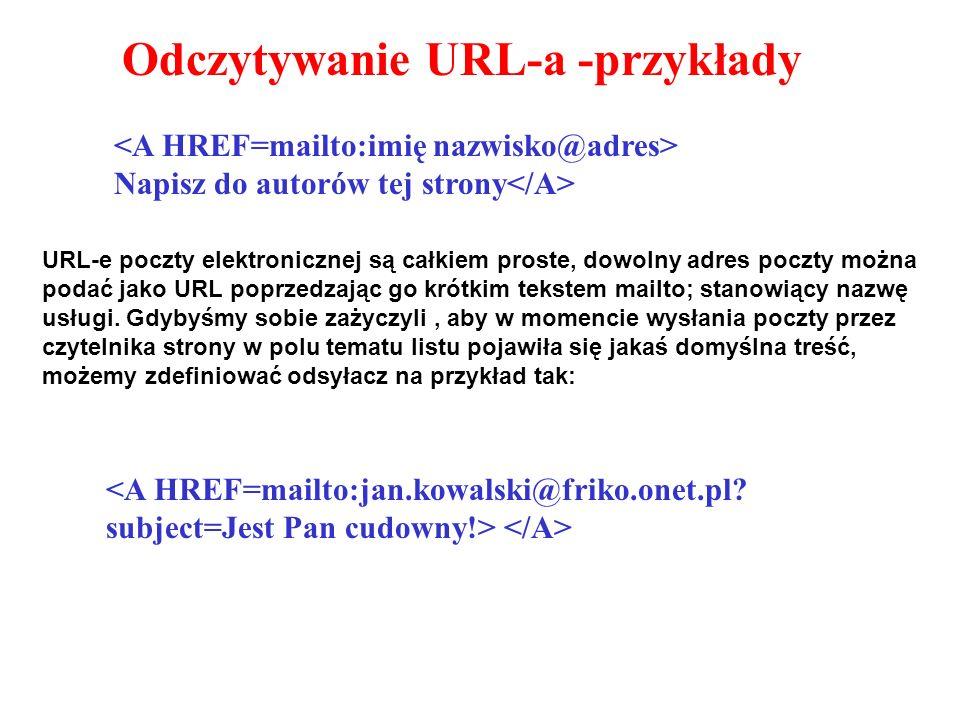 Odczytywanie URL-a -przykłady Napisz do autorów tej strony URL-e poczty elektronicznej są całkiem proste, dowolny adres poczty można podać jako URL poprzedzając go krótkim tekstem mailto; stanowiący nazwę usługi.