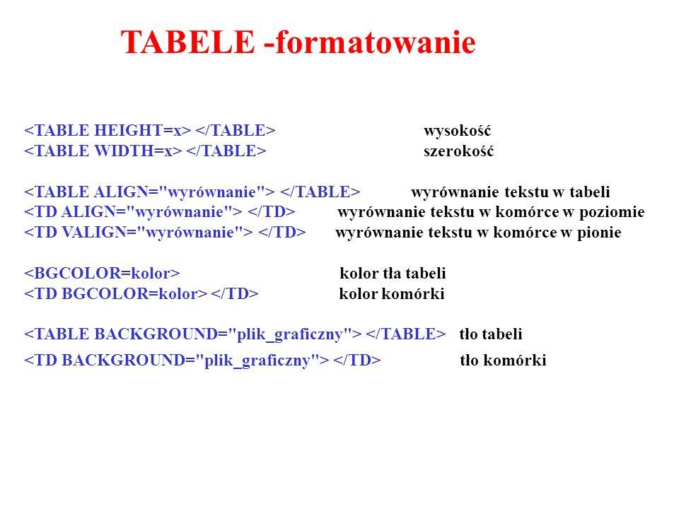 TABELE -formatowanie wysokość szerokość wyrównanie tekstu w tabeli wyrównanie tekstu w komórce w poziomie wyrównanie tekstu w komórce w pionie kolor tła tabeli kolor komórki tło tabeli tło komórki