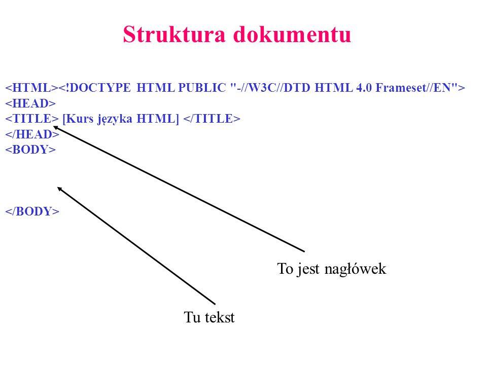 [Kurs języka HTML] Struktura dokumentu Tu tekst To jest nagłówek