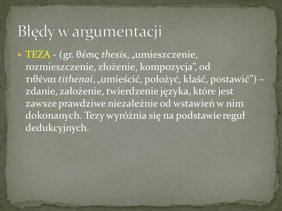 TEZA - (gr. θέσις thesis, umieszczenie, rozmieszczenie, złożenie, kompozycja, od τιθέναι tithenai, umieścić, położyć, kłaść, postawić) – zdanie, założ