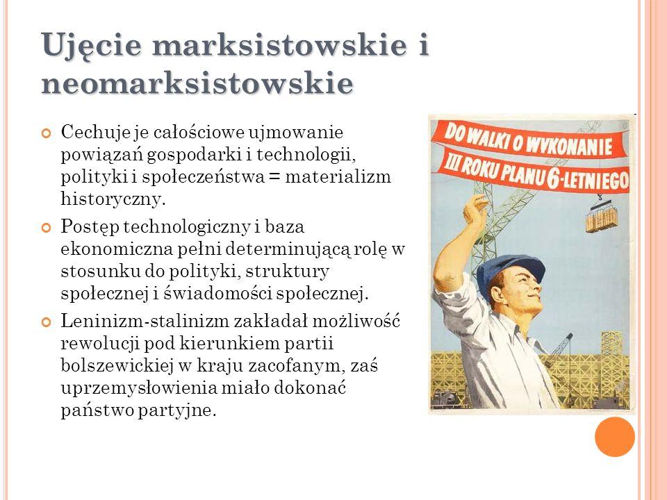 Ujęcie marksistowskie i neomarksistowskie Cechuje je całościowe ujmowanie powiązań gospodarki i technologii, polityki i społeczeństwa = materializm hi