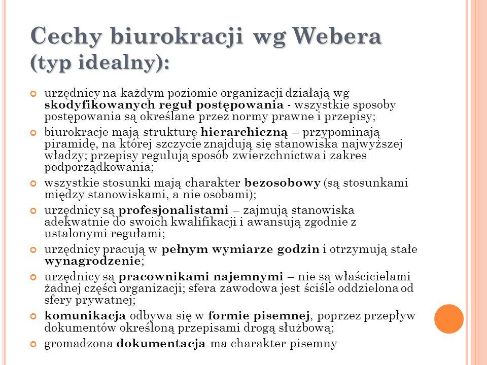 Cechy biurokracji wg Webera (typ idealny): urzędnicy na każdym poziomie organizacji działają wg skodyfikowanych reguł postępowania - wszystkie sposoby