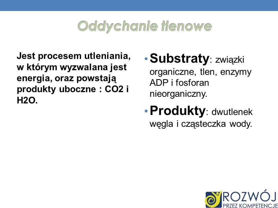 Jest procesem utleniania, w którym wyzwalana jest energia, oraz powstają produkty uboczne : CO2 i H2O. Substraty : związki organiczne, tlen, enzymy AD