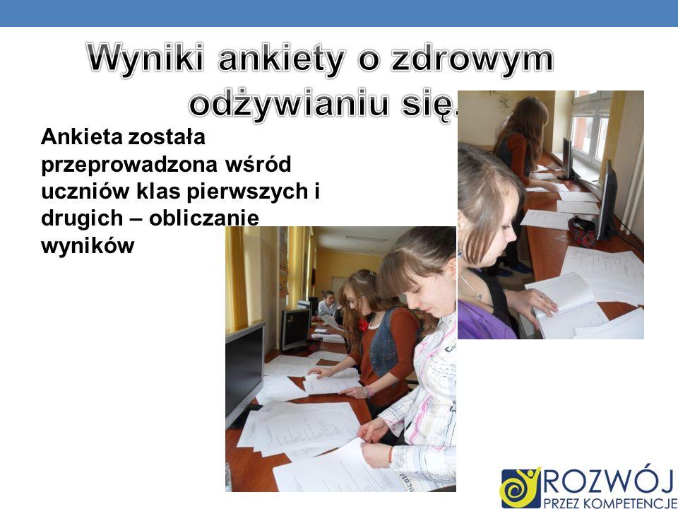 Ankieta została przeprowadzona wśród uczniów klas pierwszych i drugich – obliczanie wyników
