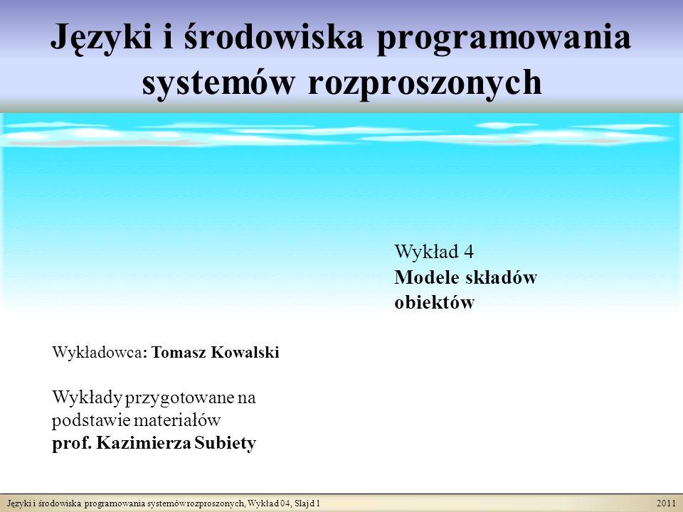 Języki i środowiska programowania systemów rozproszonych, Wykład 04, Slajd 22 2011 Schemat bazy danych dla modeli składu Język schematu bazy danych jest bardzo ważnym uzupełnieniem dowolnego modelu składu.