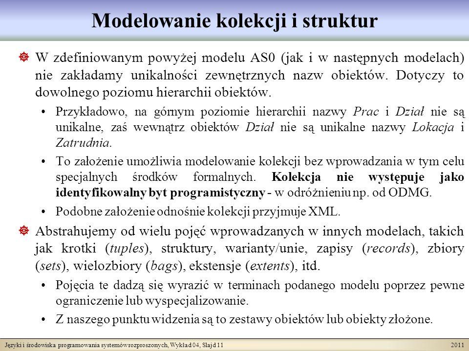 Języki i środowiska programowania systemów rozproszonych, Wykład 04, Slajd 11 2011 Modelowanie kolekcji i struktur W zdefiniowanym powyżej modelu AS0