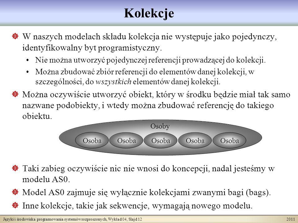 Języki i środowiska programowania systemów rozproszonych, Wykład 04, Slajd 12 2011 W naszych modelach składu kolekcja nie występuje jako pojedynczy, i