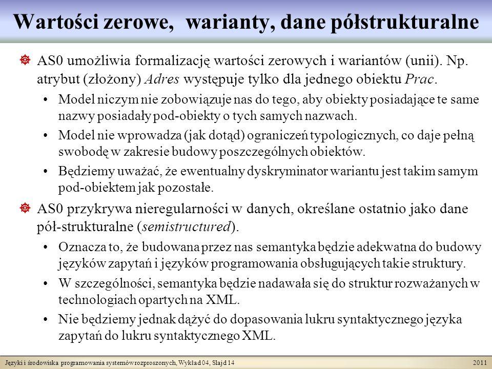 Języki i środowiska programowania systemów rozproszonych, Wykład 04, Slajd 14 2011 Wartości zerowe, warianty, dane półstrukturalne AS0 umożliwia forma