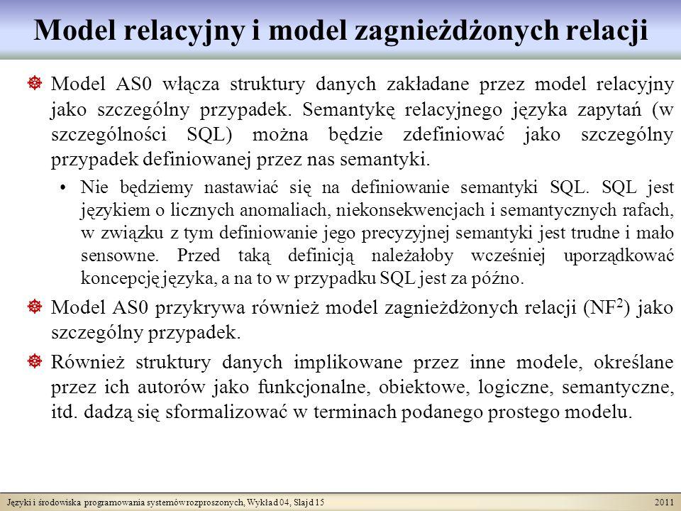 Języki i środowiska programowania systemów rozproszonych, Wykład 04, Slajd 15 2011 Model relacyjny i model zagnieżdżonych relacji Model AS0 włącza str
