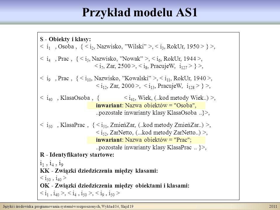 Języki i środowiska programowania systemów rozproszonych, Wykład 04, Slajd 19 2011 Przykład modelu AS1 S - Obiekty i klasy:, } >,,,, } >,,,, } >,, inw